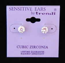 Silver Cubic Zirconia 6 mm Stud Earring  FOR SENSITIVE EARS!!!