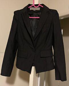 Zara Basic Black Padded Shoulder Blazer Jacket Sz XS/S