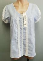 BNWT Ladies Sz 14 Rivers Trim Fit Blue Stripe Lace Short Sleeve Button Shirt