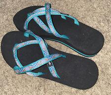 Teva Olowahu 6840B Flip Flops Teal/Black Sandals Womens Size 8.5