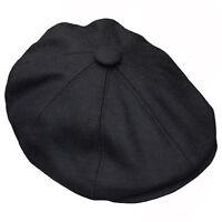 G & H Black Wool Newsboy 8 Panel Peaky Blinders Style 1920s Gatsby Flat Cap Hat