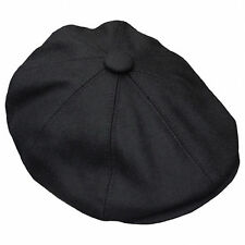 G & H Black Wool Newsboy 8 Panel Peaky Blinders Style 1920s Gatsby Flat Cap Hat