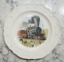 "Vintage 1950 Delano Studios Plate Train Locomotive 1850s Railroad Period 10"""