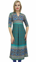Bimba Women's Teal Green Designer Tunic Printed A-Line Kurti Kurta Dress