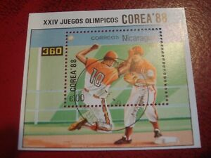 NICARAGUA - 1988 OLYMPICS & BASEBALL - UNMOUNTED USED SOUVENIR MINIATURE SHEET