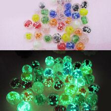 50PCS  Luminous Crystal Glass Beads Loose Round Shape Making DIY Craft Jewelry