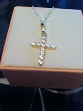 "Dazzling 2-Tone Gold Filled White CZ ""Cross"" Womens Pendant,30*15mm,"