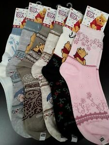 DISNEY'S WINNIE THE POOH SOCKS ( PACK OF-5 ASSORTED)WOMENS 9-11 FOR SHOE SIZE 4-