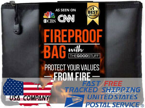 2000℉ Waterproof Fireproof Money Safe Pouch - Protect Cash Passports Documents
