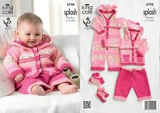 King Cole 3770 Knitting Pattern Baby Coat, Trousers, All-In-One and Socks in DK