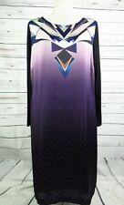 Twiggy M&S Geometric Chevron Purple Long Sleeve Satin Shift Dress Size 14