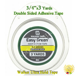 """Walker Easy Green Roll Tape Hair Systems Toupee Double Sided Tape 3/4"""" X 3 Yards"""