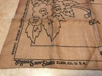 "Vtg Burlap Hooking Rug Virginia Snow Studio Hessian Canvas Cloth 24""x40"" Floral"