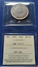 1870 PTS ER BOLIVIA Un Boliviano Silver Coin ICCS EF-45