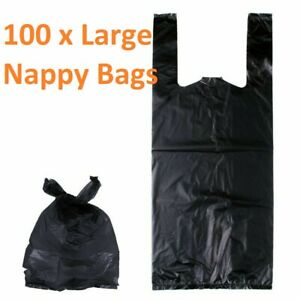 Pack of 100 Black Large Adult Incontinence Nappy Disposal Unscented Bags