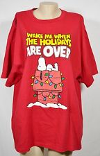 "PEANUTS Red ""Wake Me Up When The Holidays Are Over"" T-Shirt 2XL Snoopy Christmas"