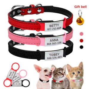 Suede Leather Puppy Dog Cat Small Pet Collars and Slide On ID Tag Engraved XXS-S