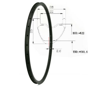 Asymmetric Carbon MTB Rim 29er 28mm Wide 25mm Depth XC 28/32H UD Matt/Glossy 1pc
