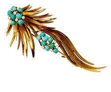 Estate Piece 18K Yellow Gold Diamond Turquoise Fur Pin/Dress Clip