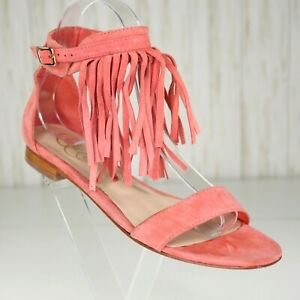 Candela Peachy Orange Suede Sandal Size 7 M Womens Ankle Strap with Fringe Shoes