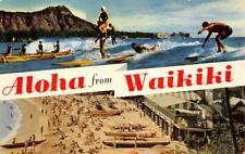 ALOHA FROM WAIKIKI Surfing, Beach Scene Hawaii 1957 Vintage Postcard