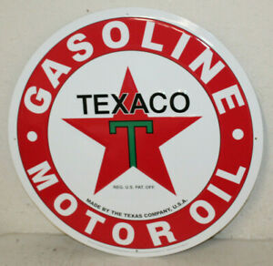 "Texaco Gasoline Gas Oil 24/"" Large Embossed Round Metal Tin Sign Vintage Garage"