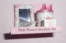 DOLLHOUSE MINIATURE BOUDOIR SET PINK FLOWER MIRROR BOOK TISSUE BOX WASTEBASKET