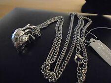 "Detalle Único Gótico esculpido 3D .925 Collar de plata plateado corazón humano 27"""