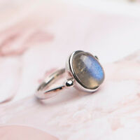 Natural Blue Labradorite Gemstone Woman Adjustable Bead Shape Silver Ring AAAA