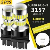 2PC Auxito 3157 3057 LED Backup Reverse Tail Brake Signal Light Bulb 6000K White