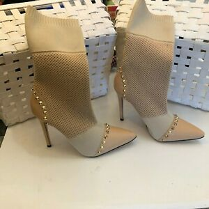 NEW Privileged Dreamz Studded Pull On Sock Stiletto Boots SZ 8.5 Retails $148