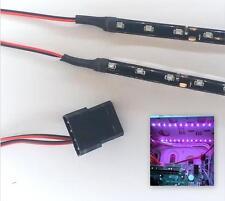 MORADO Modding PC Funda LUZ LED Juego (Doble 30cm Tiras) Molex 80cm Colas