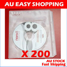 200 White CD DVD sleeves For dvd + Movie cover Storage A