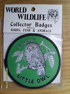 World Wildlife Collectors Cloth Bird Badge of a Little Owl
