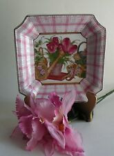 Asian Pink Collector Porcelain Plate, Collectible Plates, Square Plates