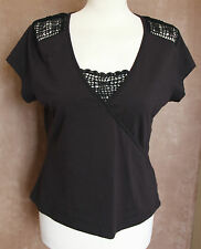 BNWT Black Top with Lace Panels - M & Co. - Size 10