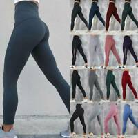 Womens High Waist Yoga Pants Pocket Leggings Sports Workout Ftiness Trousers O21