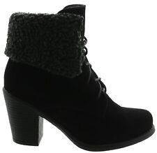 Damen Ankle Boots,High Heels Stiefeletten,Stiefel,Schwarz,Kunstfell,Gr. 36