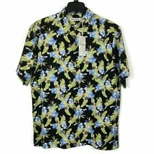 Tommy Bahama Hawaiian Shirt Mens Size XL  Black Blue 100% Silk Floral Aloha NWT
