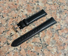 18mm Black Genuine Calf Leather Watch Band Strap Interchangeable Mens,Womens