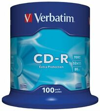 VERBATIM ORIGINALE 43411 CD-R 80MIN 700 MB 52x Velocità di scrittura protezione Extra 100 Pk