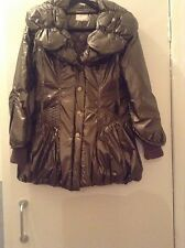 Stunning Metallic Khaki Big Collar Warm Jacket 8/10