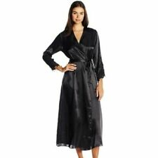 $68 Flora by Flora Nikrooz Stella Satin Long Robe Lingerie Size S / M  BLACK NWT