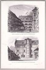 Nürnberg historische Bauwerke. Stich mit 2 Ansichten, Stahlstich von Poppel 1846