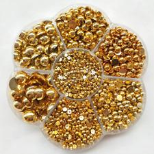 3000PCS 1 Box Gold Round Flat Back Half Pearls Bead Loose Beads Gem