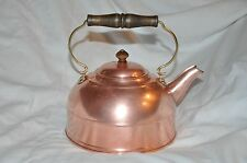 1801 Revere Ware Copper 4 Cup Tea Pot Kettle Wooden Handle - Colonial Style