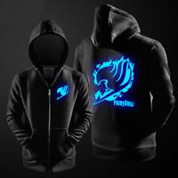Hot Anime Fairy Tail Hoodie Jacket Thick Coat Luminous Zipper Sweatshirt S-4XL