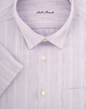 SECONDS Ex Store Space Dye Stripe Short Sleeve Shirt Lilac White Blue 16.5 F913