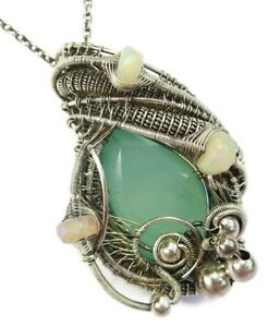 Aqua Chalcedony Wire-Wrapped Necklace in Sterling Silver w Ethiopian Welo Opals