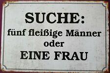 """Bild*Blechbild*METALLSCHILD*BLECHSCHILD*Dekobild """"SUCHE 5 fleißige...""""Sprüche"""